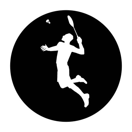 Round badminton emblem with badminton player smash shot