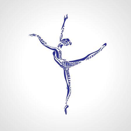 Ballet girl. Artistic rhythmic gymnastics dancing woman