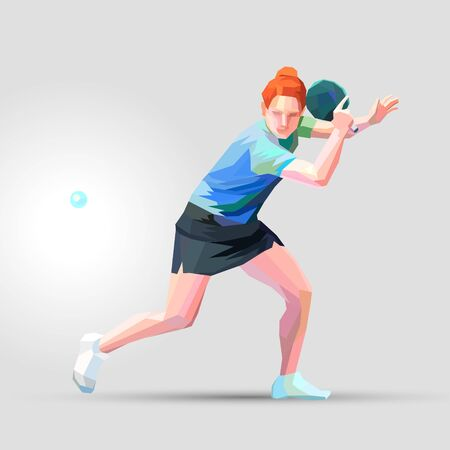 Table tennis player polygonal low poly