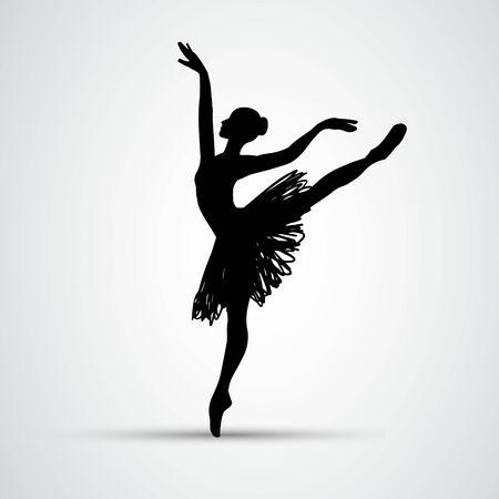 Ballet girl. Dancing woman vector silhouette eps10 Çizim