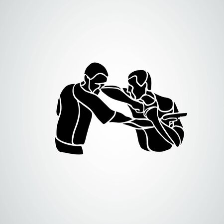 Krav maga silhouettes. Two abstract fighters pictogram 矢量图像