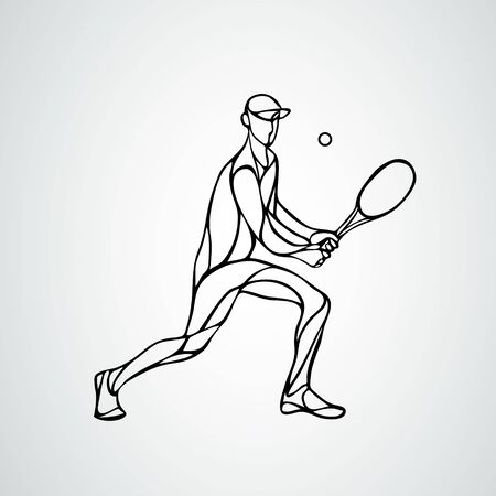 tennis player, black vector creative silhouette eps10 Çizim