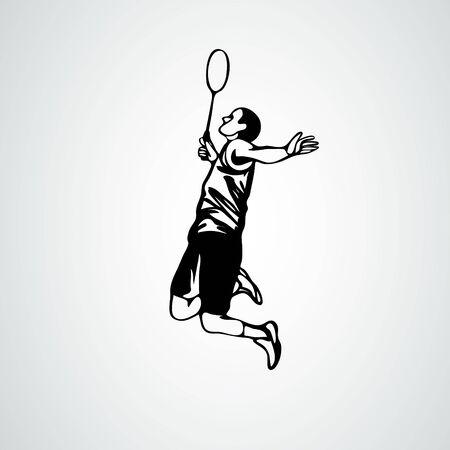 Badminton player in smash action vector illustration eps10