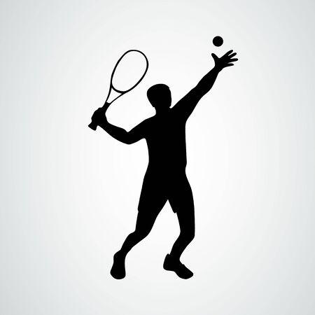 Służy tenis. Tenisista, czarna sylwetka wektor eps10
