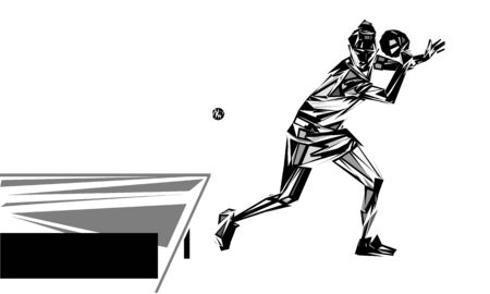 Abstract Female Table Tennis Player. Vector eps10 illustration