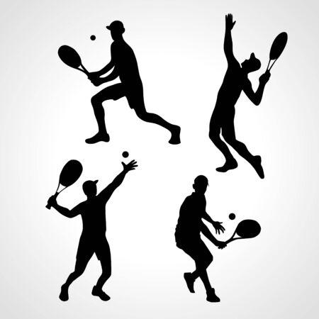 Set of tennis players 4 vector sihouette. Racket sport Illustration