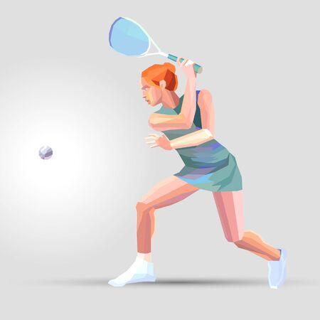 Joueur de squash féminin Illustration vectorielle géométrique polygonale