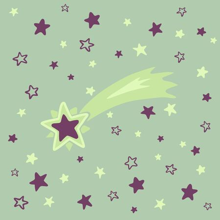 Shooting star background against starry night sky, vector illustration eps10 Çizim
