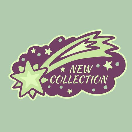 New Collection sale text over paint texture with shooting star vector illustration. Perfect sticker design for a shop and sale banners. Çizim