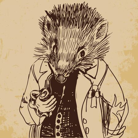 Hedgehog dressed up in a jacket with a pipe hand drawn sketch