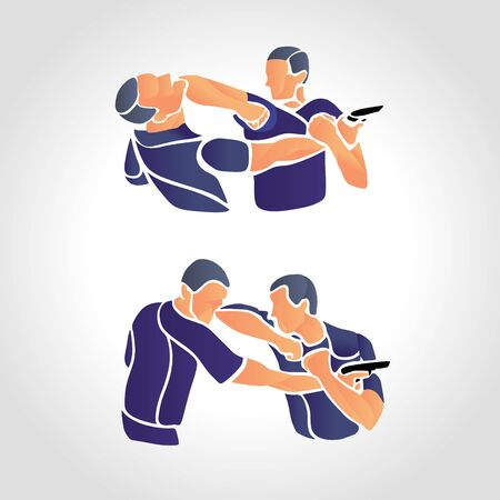 Vector Krav Maga Sparring Cartoon Illustration. Fight two people. Branding Identity Corporate  isolated on a white background