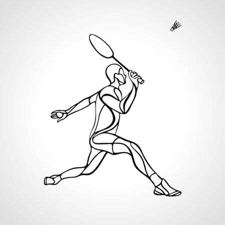 Creative silhouette of abstract badminton player vector Çizim