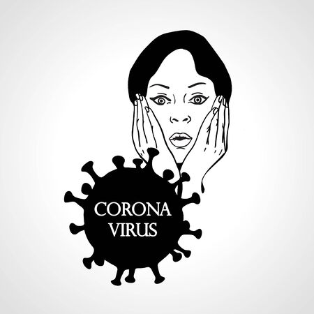 Young woman face in respiratory protective mask and coronavirus cell disease. Coronavirus flu. Dangerous cases of flu. Medical health risk. Vector illustration