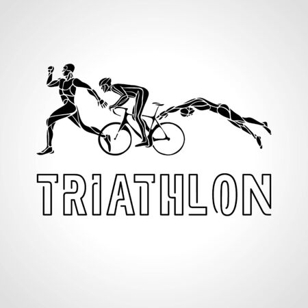 Color flat triathlon. Vector figures triathletes
