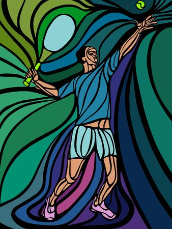 Abstract tennis player with a racket. Vector illustration of lines Çizim