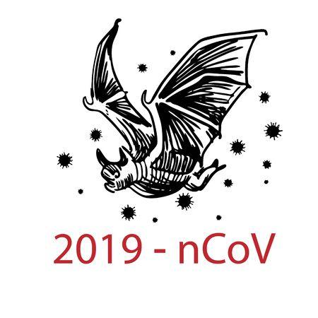 Bat vector Disease carrier coronavirus outbreak or 2019 ncov with coronavirus cell
