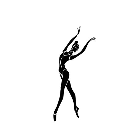 Ballerina Female Dancer Pose Vector Silhouette eps10