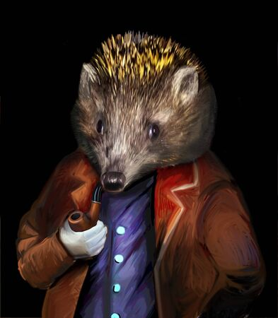 Hedgehog in clothes with a pipe anthropoid animal Stok Fotoğraf