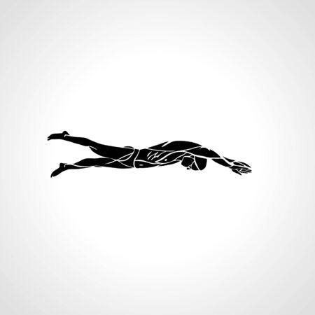 Freestyle Swimmer Silhouette. Sport pro swimming vector