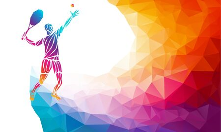 Creative silhouette of tennis player receiving a ball. Racquet sport, colorful vector illustration with background or banner template in trendy abstract colorful polygon style and rainbow back