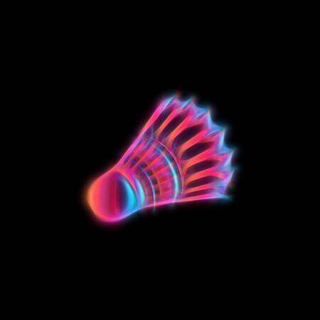 Badminton shuttlecock or birdie. Detailed feather shuttlecock for badminton on black background. Neon colors