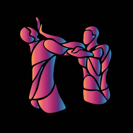 MMA fighters abstract neon silhouettes on black. Boxing icon