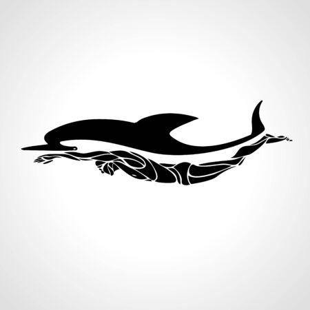 Professional swimmer dolphin Çizim