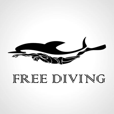 Free diver and dolphin. Çizim