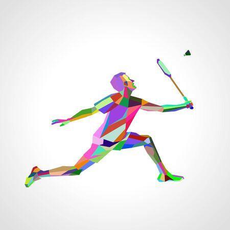 Polygonal professional badminton player.