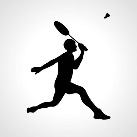 Silhouette of professional badminton player vector eps