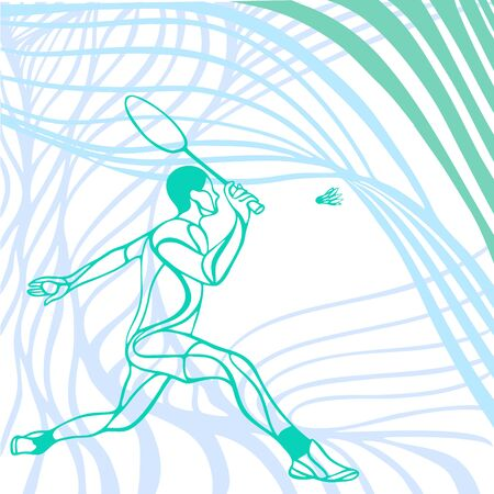 Light wave abstract badminton player. Stylized pastel vector illustration eps10 clipart. Racket sport background