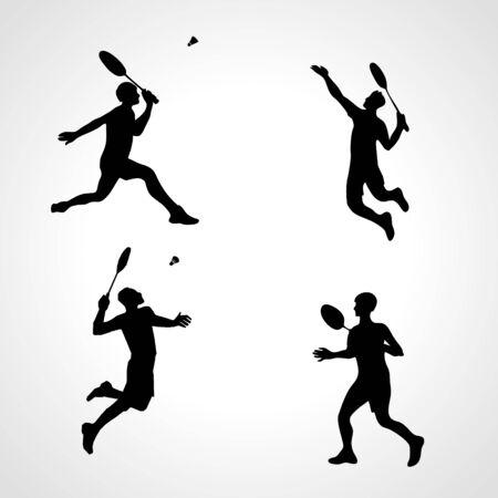 Badminton Players Silhouettes Set. Men silhouettes play Badminton vector. Collection of sportsmen. Racket sport concept. Vector illustration eps10