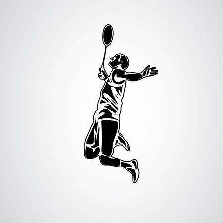 Badminton player in smash action