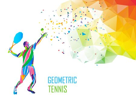 Tennis player triangle polygonal low poly illustration Çizim
