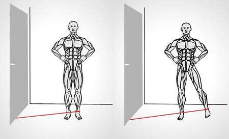 Leg adductor with band leg adductor exercise