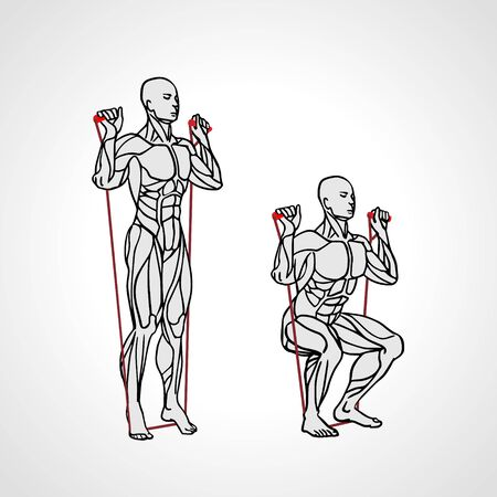 Squat with Resistance Band Row. Quadriceps training. Ilustrace