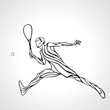 Squash player creative abstract silhouette Vecteurs