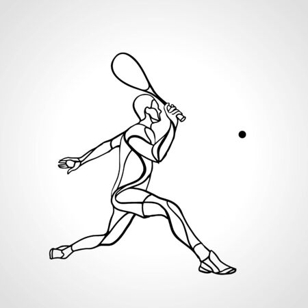 Squash player creative abstract silhouette vector eps10