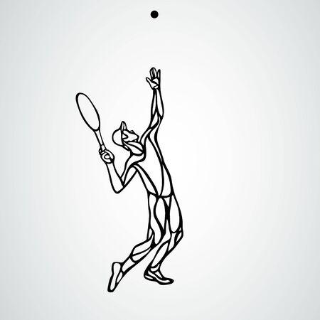 Tennis player, black outline vector creative silhouette eps10