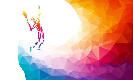 Creative silhouette of tennis player. Racquet sport vector illustration or banner template in trendy abstract colorful polygon style with rainbow back