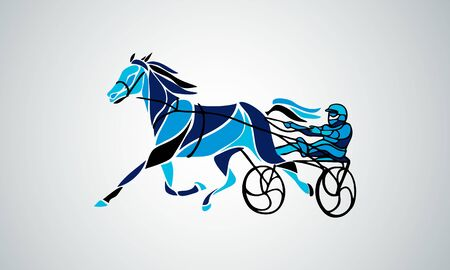 Trotting. Horse riding in a race track. Vector illustration