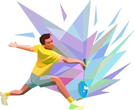 Polygonal geometric low poly professional badminton player Stok Fotoğraf