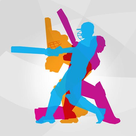 Passionate Professional Cricket Athlete in Action Logo Clipart