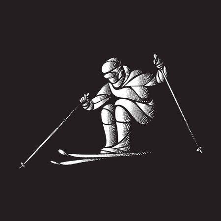 Giant Slalom Ski Racer stippled silhouette. Vector illustration