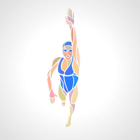 Freestyle Woman Swimmer Silhouette. Çizim