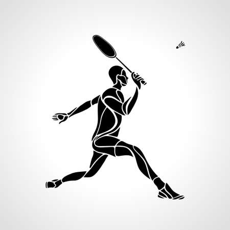 Creative silhouette of professional Badminton player vector