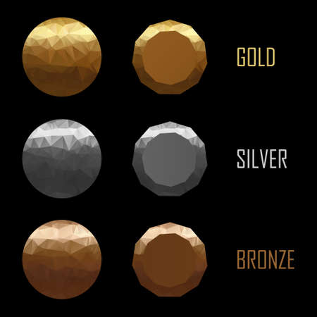 Set of medals gold, silver, bronze in polygonal style vector