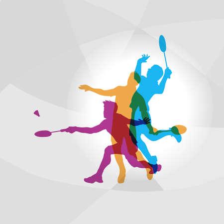 Modern Badminton Players In Action Logo Vector