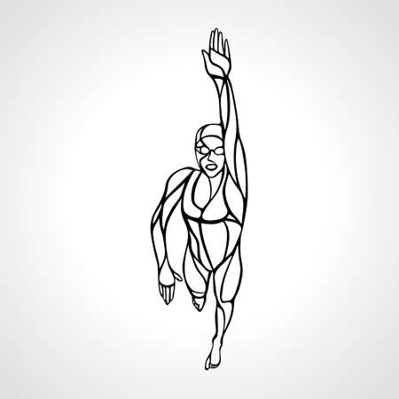 Freestyle Woman Swimmer Silhouette. Crawl. Sport swimming vector