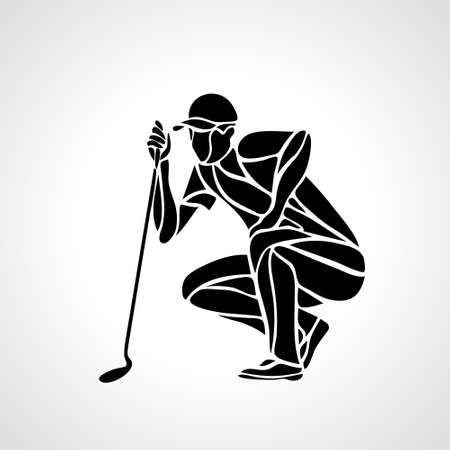 Creative abstract silhouette of golf player. Çizim